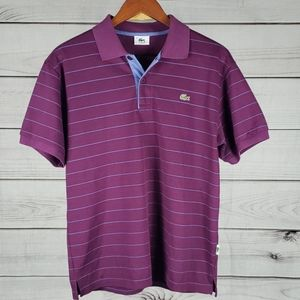 Lacoste • S polo shirt stripes collar purple